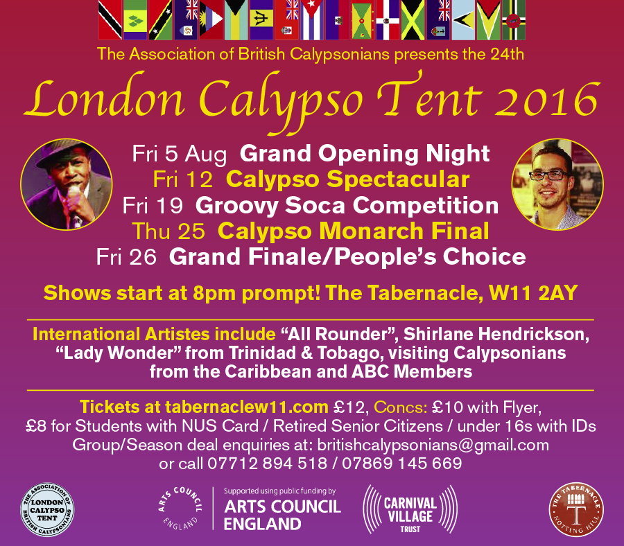 LONDON CALYPSO TENT:   Groovy Soca Competition