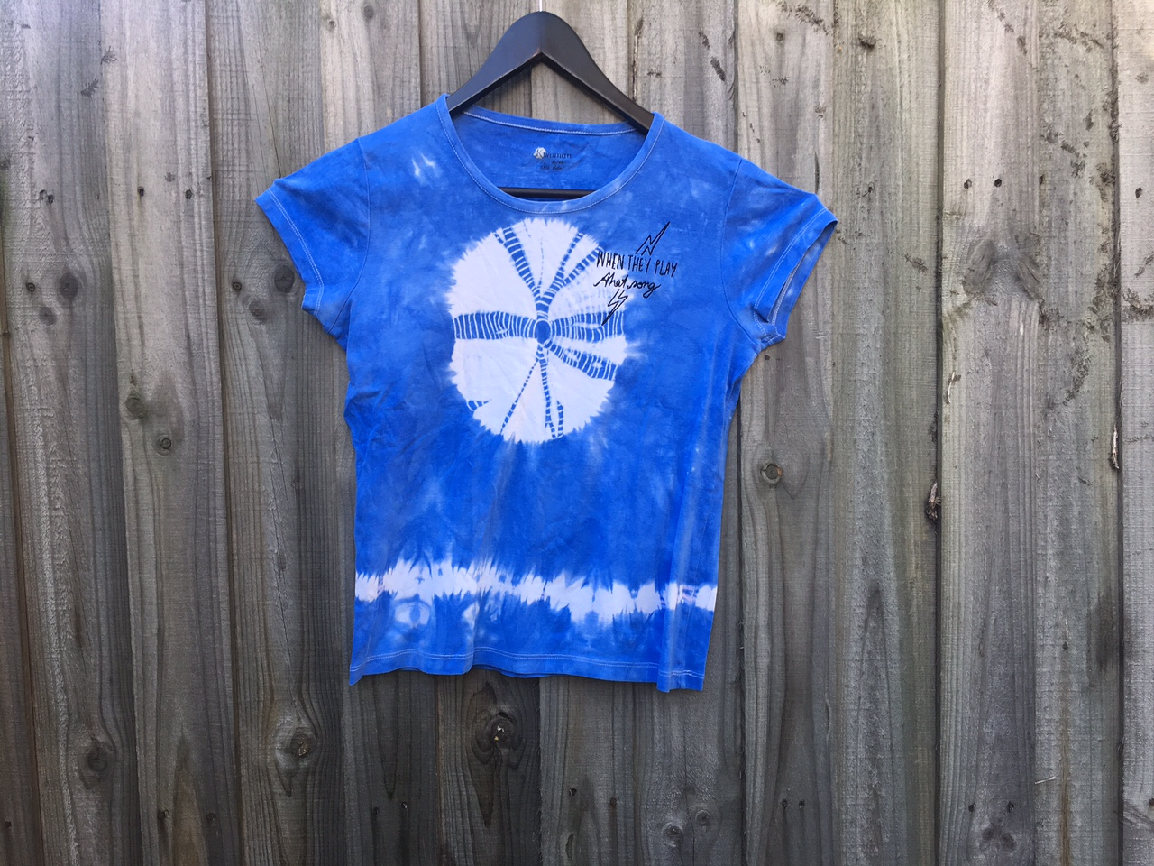 One-of-a-kind, 90's Covers EP T-shirt - blue sky burst tie-dye ! XS womens. - Lisa Mitchell