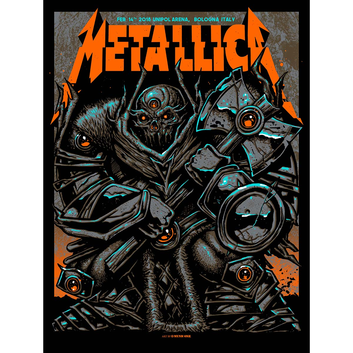 Bologna Feb 14th – Limited Edition Numbered Screen Printed Event Poster - Metallica