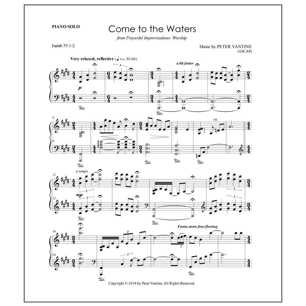 Come to the Waters (sheet music download) - Peter Vantine