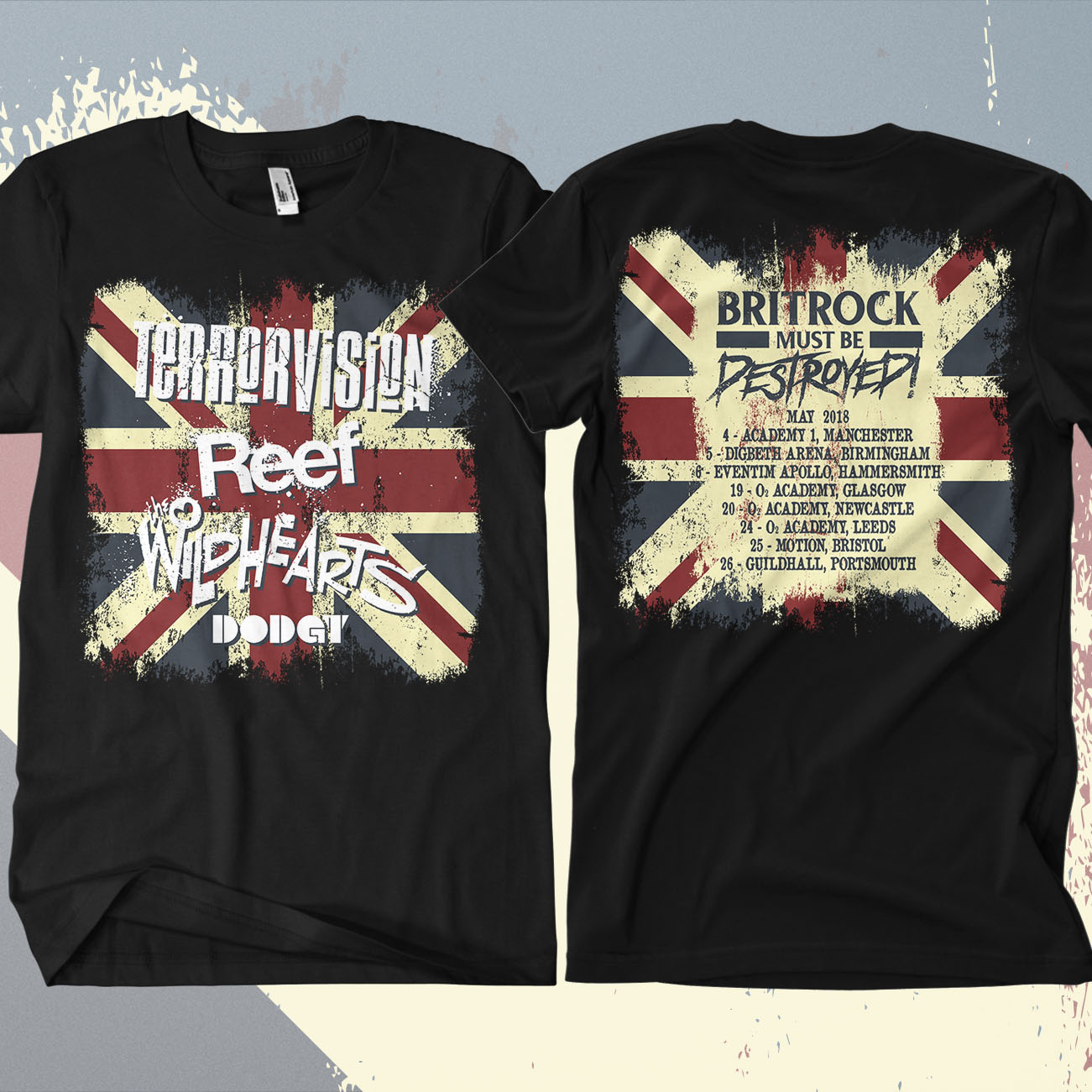 Terrorvision - 'Britrock Must Be Destroyed' Black UK Tour T-Shirt - Omerch