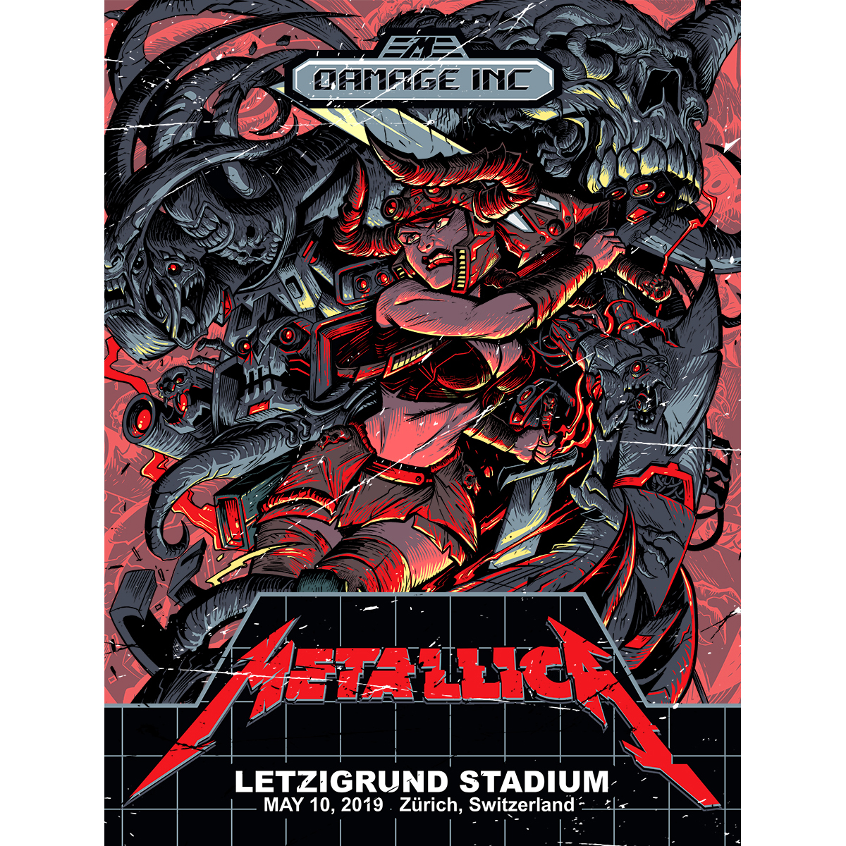Zurich May 10th – Limited Edition Numbered Screen Printed Event Poster - Metallica