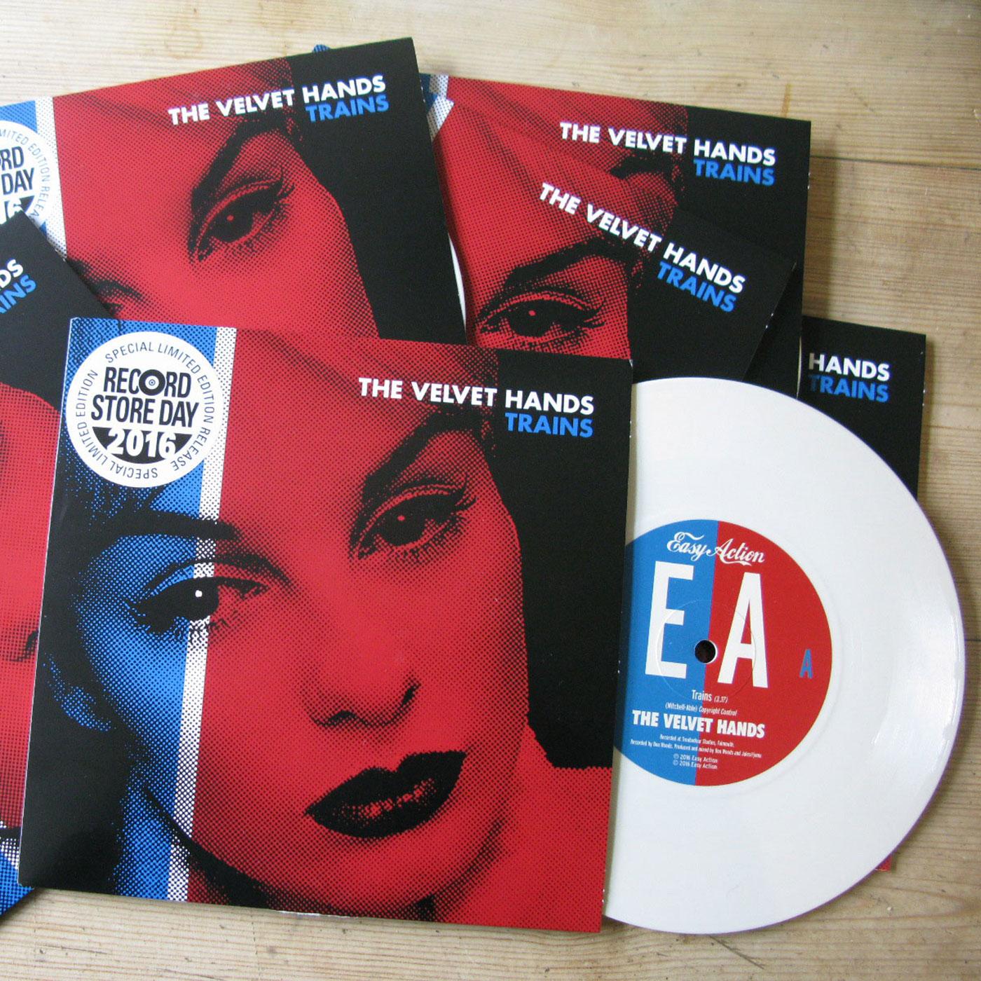 """Trains 7"""" white vinyl. - The Velvet Hands"""