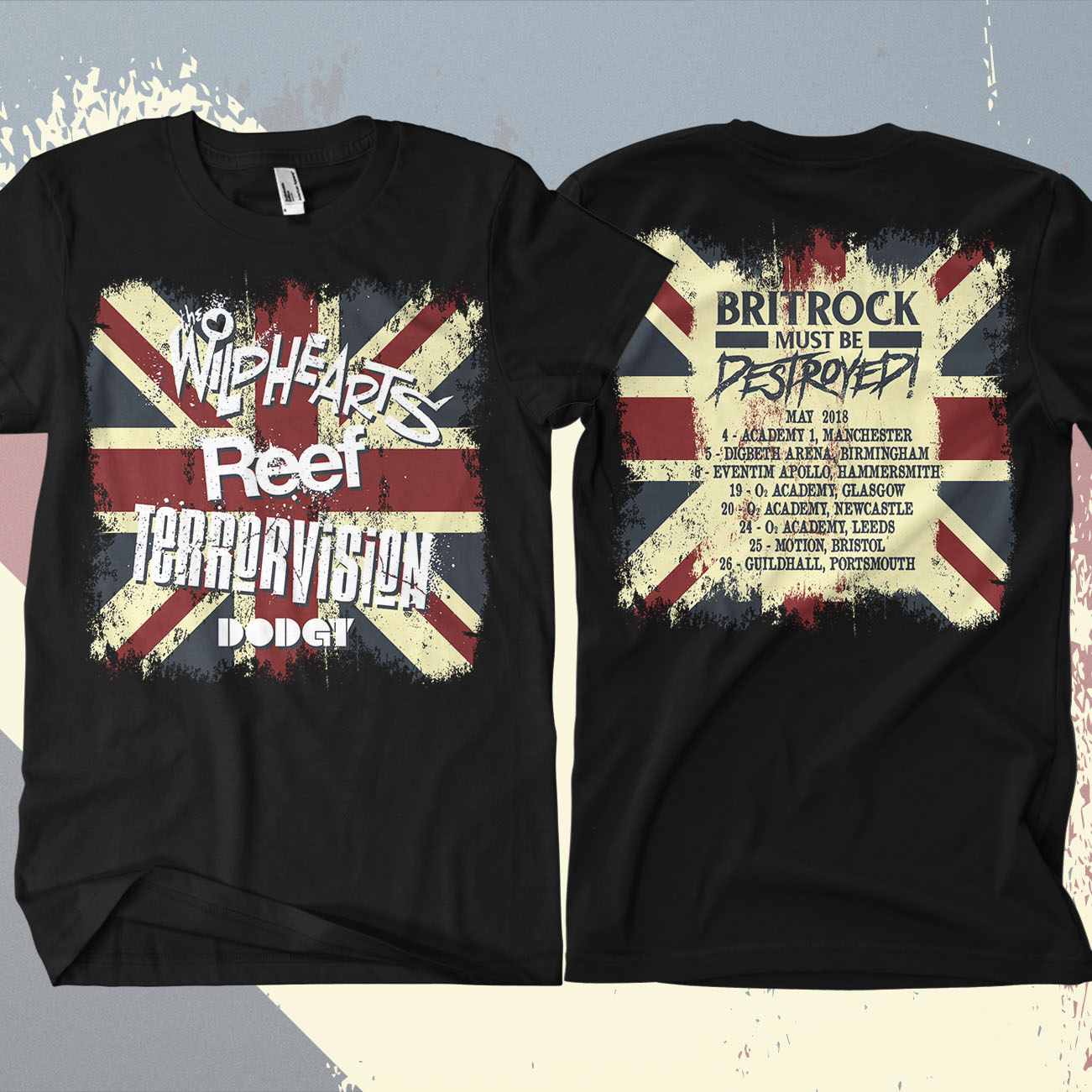 The Wildhearts - 'Britrock Must Be Destroyed' Black UK Tour T-Shirt - The Wildhearts